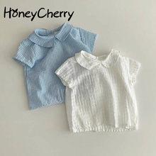 Verão para meninas camisa simples doce e versátil manga curta solta lapela topo bebê menina blusa