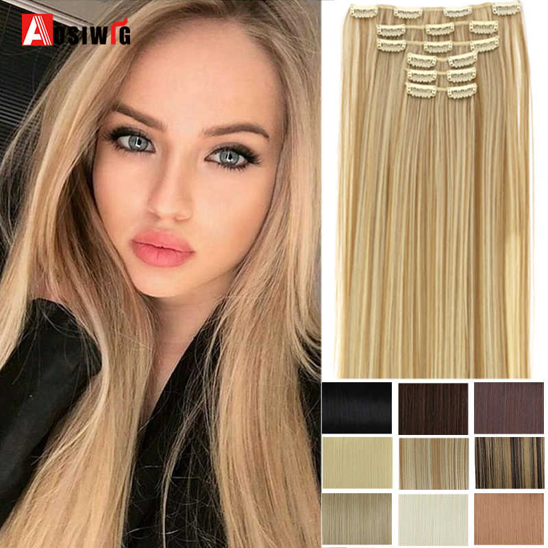 "Aosiwig 6 Stks/set 24 ""Haarstukje 140G Straight 16 Clips In Valse Styling Haar Synthetische Clip In Hair Extensions hittebestendige"