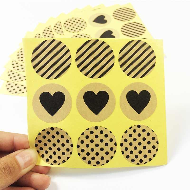 90 Pcs/lot Vintage Heart Dots Twill Series Round Kraft Paper Sticker For Handmade Products Gift Seal Stickers Label