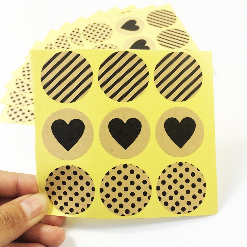 90 Pcs/lot Vintage Heart Dots Twill Series Round Kraft Paper Sticker For Handmade Products Gift Seal