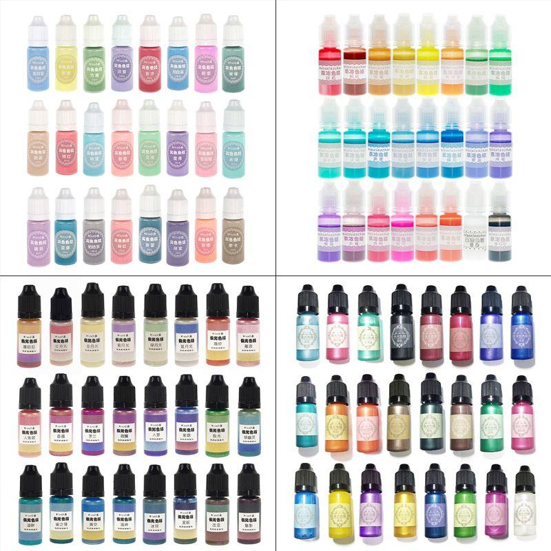 24 Pcs/set Crystal Epoxy Pigment UV Resin Dye DIY Jewelry Colorant Art Crafts Coloring Toning Color Mixing Liquid Decor