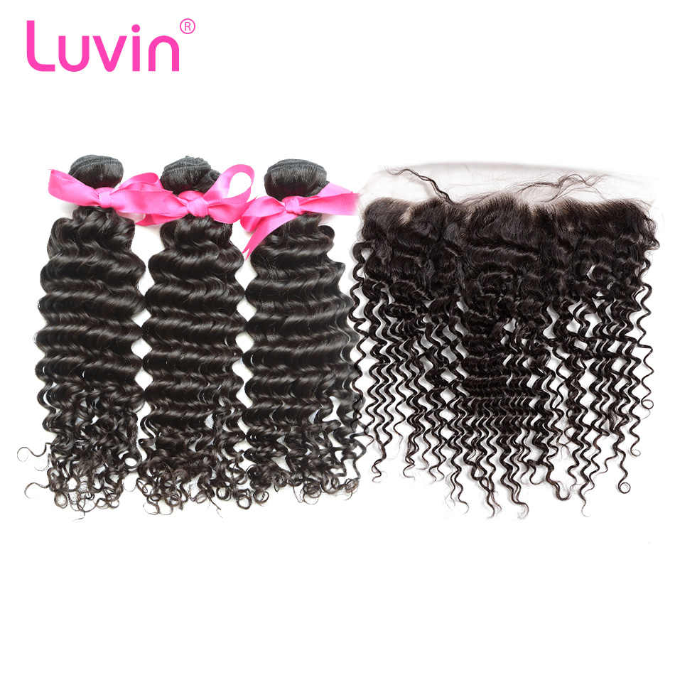 Luvin OneCut Hair Deep Wave Brazilian Hair Weave Bundles Human Hair Extension 3 4 Bundles With Frontal Closure Remy Hair Bundles