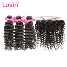 Luvin OneCut Hair Deep Wave Brazilian Hair Weave Bundles Human Hair Extension 3 4 Bundles With Frontal Closure Remy Hair Bundles(China)