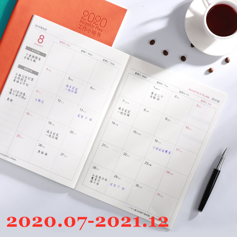 Notebook Planner Agenda 2020 2021 Daily Weekly Monthly  Journal A5 Meeting Book Girl School Supplies Stationery Gift Management