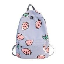 2019 Women Fashion Fruit Print Backpack Little Fresh Waterproof Nylon Solid Color Shoulder Bag Girls School Bags For Teenagers