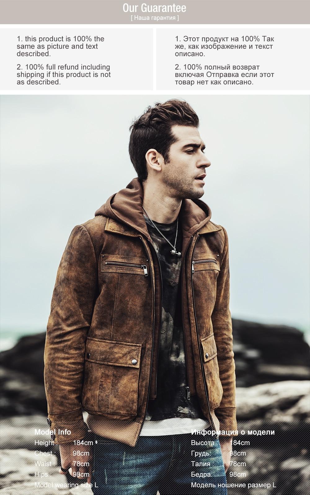H616a663aa5bb4a21a922797d45aca8e3U 2017 NEW Men's Retro Autumn Winter warm Coat Real leather Motorcycle jacket Detachable Hooded Male Genuine Leather Jacket
