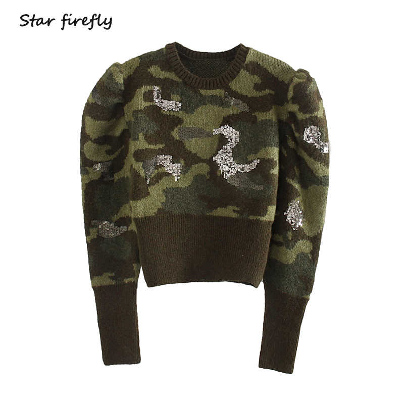 Star firefly autumn military style style puff sleeve short sweater female 2019 casual slim round neck beads piece sweater