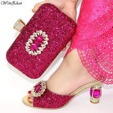 ラインストーン高級サンダルかかとの女性の靴とマッチング女性光沢のあるグリッタースタイル用パーティー結婚式 38 42 c98 20