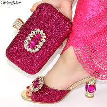 Rhinestone luksusowe sandały obcasy damskie buty z pasującymi kobiet torebki z błyszczący brokat styl na wesele 38 42 C98 20