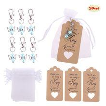 20 unids/set llavero etiquetas tarjeta dulces bolsas Vintage boda Souvenirs invitados
