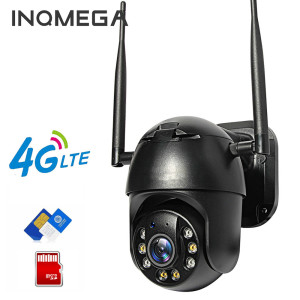 INQMEGA IP Camera 4G SIM Card Wifi 4X Digital Zoom PTZ Video Surveillance Black Dome Wireless GSM Security Outdoor P2P SD Card