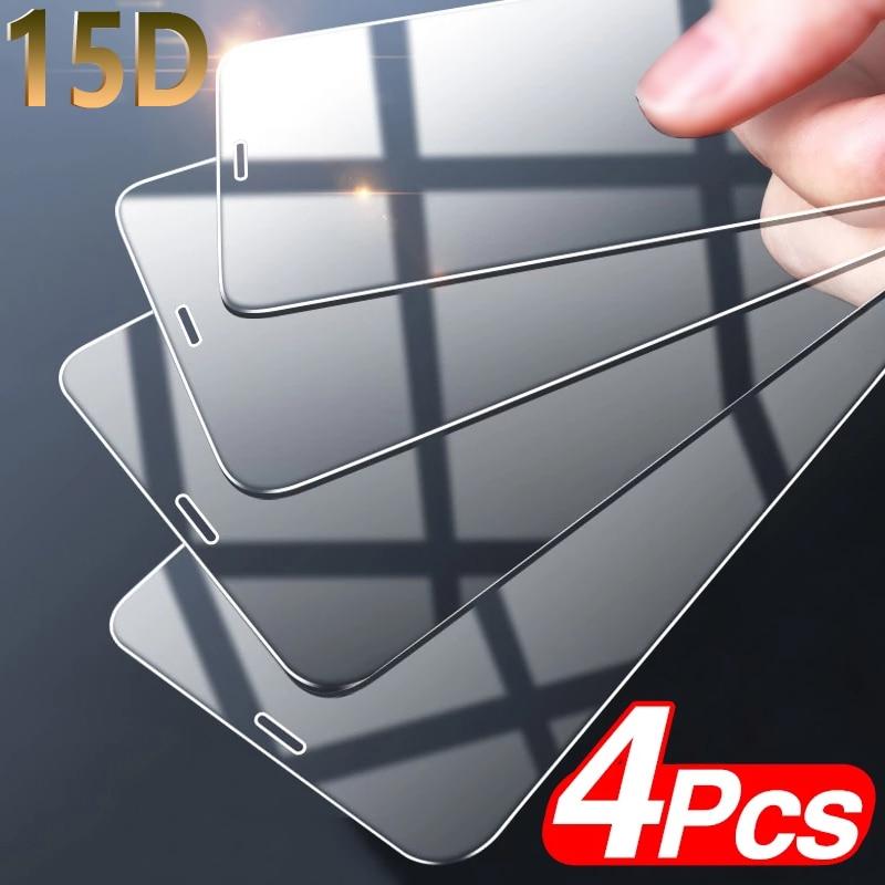 Закаленное стекло с полным покрытием для iPhone, защитная пленка для экрана iPhone 11, 12 Pro, XS MAX, X, XR, 11Pro, 12 Mini, 6, 7, 8 Plus, стеклянная пленка, 4 шт.
