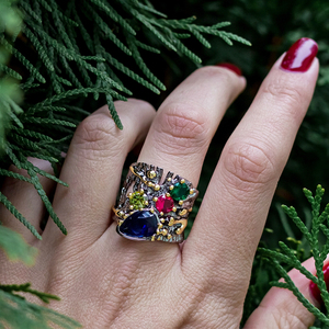 Image 3 - Large Wide Ring Blue Multi Colorful Stones Fashion Jewelry Top Jewellery Big Rings for women