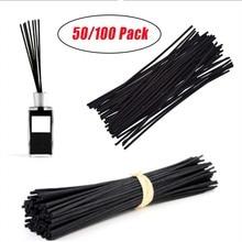 50/100 Pcs Black Rattan Reed Diffuser Sticks Replacement Fiber Essential Oil 20cm 3mm