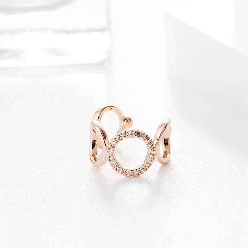 Exquis 1PC conception Simple rond cercle oreille manchette couleur or Rose cubique Zircon boucle d'oreille Clip pour les femmes filles