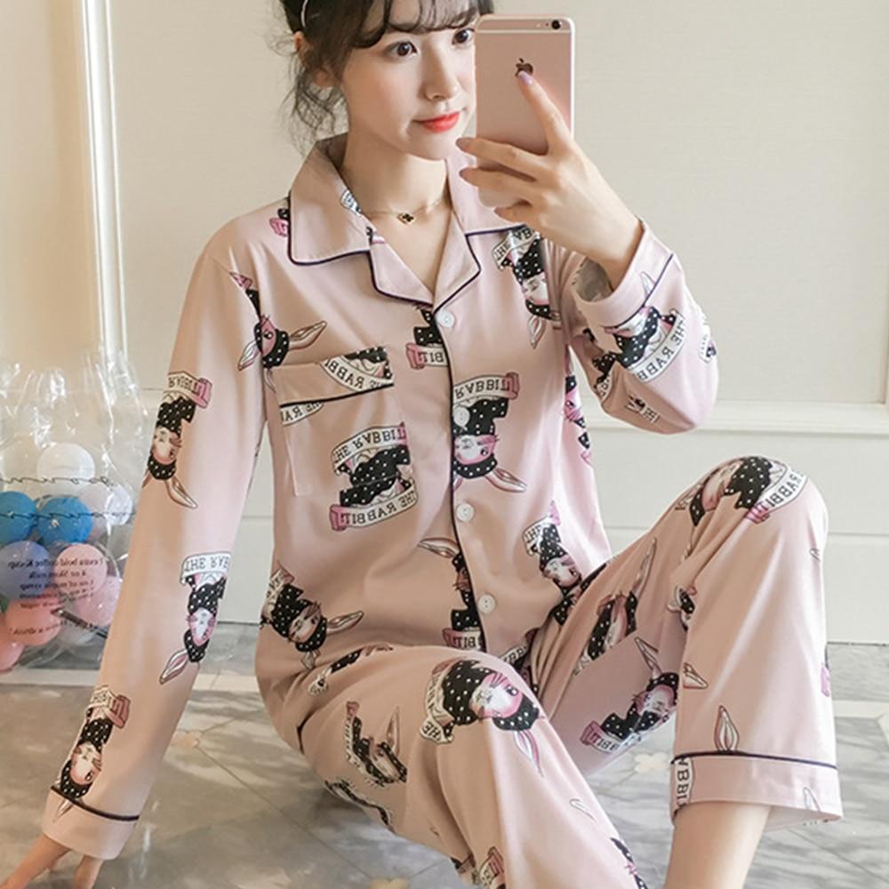 Cute Pajamas For Women Long Sleeve Spring Womens Pajamas Sleepwear V-collar Pajama Set Pijamas Women Cartoon Sleepwear