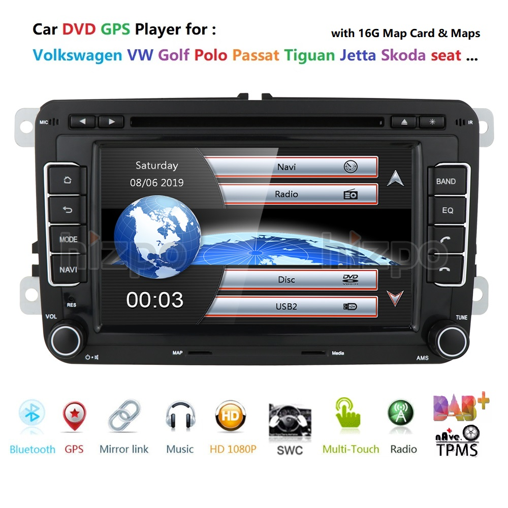 2 Din 7 inch Car DVD GPS <font><b>Radio</b></font> Player For Volkswagen <font><b>VW</b></font> golf 5 6 <font><b>touran</b></font> passat B6 B7 sharan JATTA Skoda Seat Autoradio with BT image