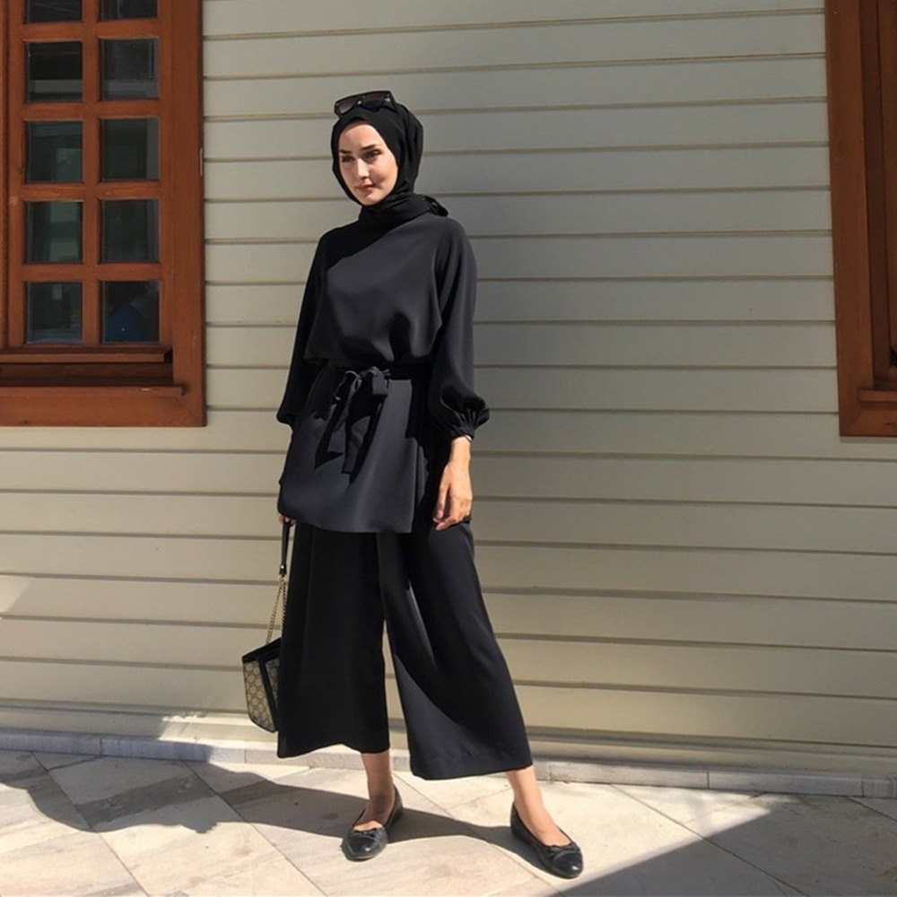 Muslim 2 Pieces Sets Summer Dubai Tops and Pants Suits Female Kaftan Oman Turkish Hijab Islamic Dress Ramadan Ropa