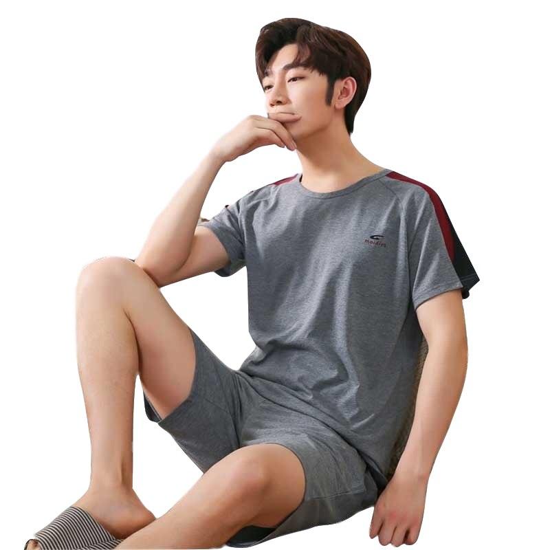 Thin Letter Pajama For Men Sleepwear Suit Satin Pajamas 2019 Summer New Knitted Cotton Short Sleeved Men's Pajamas Sets