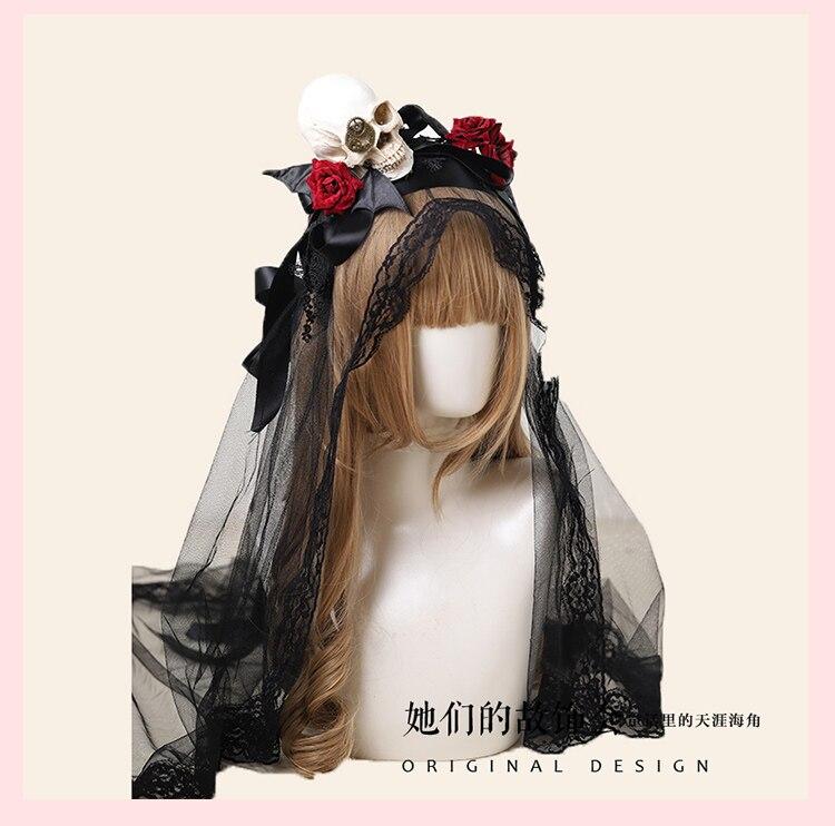 Принцесса Сладкая Лолита лента для волос галстук бабочка черная пряжа резинка украшение для волос Черный череп серия лента для волос мода для женщин GSH261