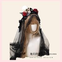 Princess sweet lolita hairband Bow tie black yarn hair band decoration Black Skull series hairband fashion women GSH261