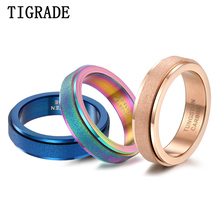 Tigrade Unisex Women Men Rotatable Ring Tungsten Carbide Frosted Surface Rose Gold Blue Colorful Matte Wedding Band Party Rings