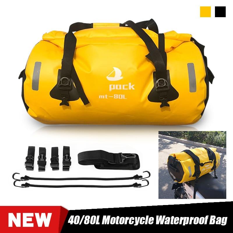 Bolsa de viaje impermeable para motocicleta, mochila para asiento de moto, equipaje de secado rápido al aire libre, capacidad interna de 40/80L, resistente al agua