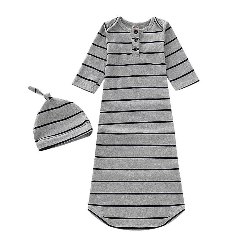 Hilittlekids 2Pcs/Set Autumn Baby Long Sleeve Rompers Cotton Striped Print Sleepwear Outfits+Headbandborn Sleeping Bag Set