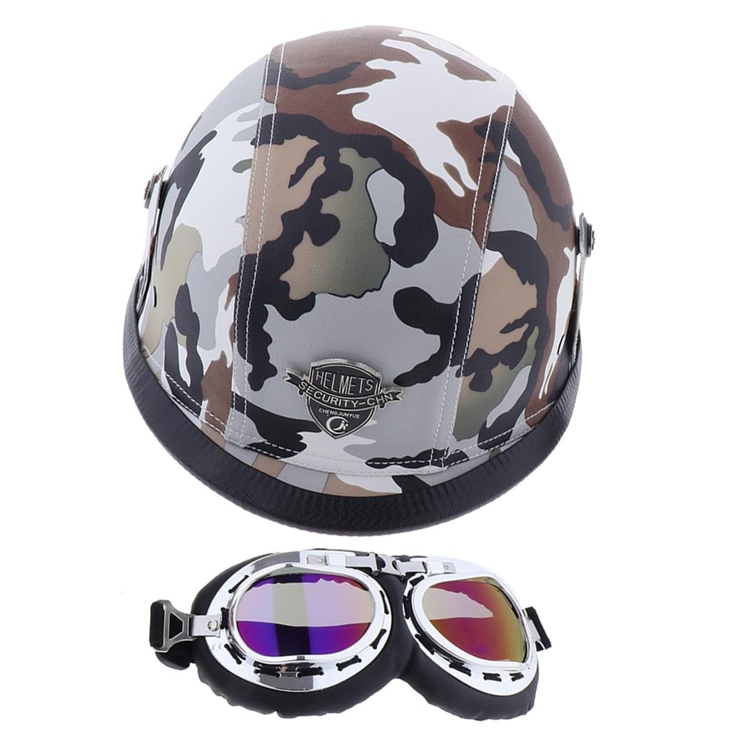 Ретро шлем для верховой езды с очками для мотоцикла Chopper
