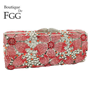 Image 1 - Boutique De FGG Hollow Out Women Crystal Flower Clutch Evening Handbags and Purses Metal Hardcase Floral Wedding Minaudiere Bags