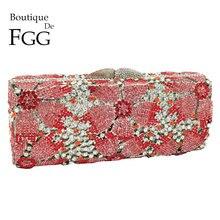 בוטיק דה FGG חלול החוצה נשים קריסטל פרח מצמד ערב תיקי ארנקי מתכת Hardcase פרחוני חתונה Minaudiere שקיות