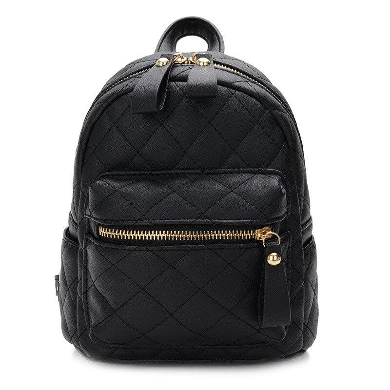 Teenager Girls Small Backpack Female Lingge Leather Backpack Purse Women Mini School Bags Cute Funny Backpack For Girl