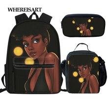 WHEREISART 3шт/комплект школьные сумки для детей Черная магия африканская девушка печать рюкзак школы девочек-подростков Дети плечо сумки книгу