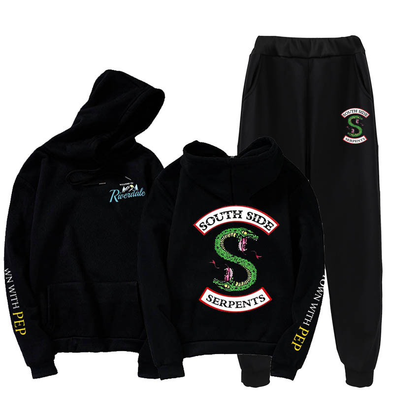 Autumn and winter Riverdale double-headed snake sports suit 2 piece hoodie general clothes street casual top 5