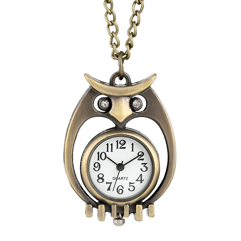 Unique Bronze Hollow-out Pocket Watch Diamond Eye Owl Case Durable Thin Chain Pendant Necklace Quartz Watch Gifts For Men Women