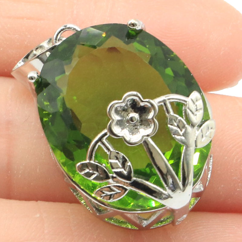 30x17mm Big Oval Gemstone 22x18mm Green Peridot Woman's GiftSilver Pendant