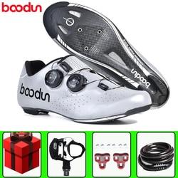 BOODUN road obuwie rowerowe sapatilha ciclismo mężczyźni rower z włókna węglowego dodaj zestaw pedałów rower oddychający profesjonalny samoblokujący w Buty rowerowe od Sport i rozrywka na