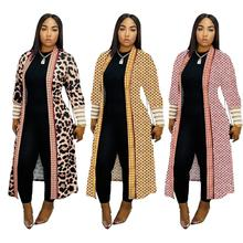 Newest Lisitng Leopard Diamond Printed Women Long Trench Coats Long Sleeves V Neck Cardigan Mid Calf Lady Long Coat Outwear cheap flashdeals Full Broadcloth Streetwear Polyester 600515660463 Turn-down Collar vintage Open Stitch Wide-waisted