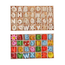 224pcs Alphabet Wooden Upper Case Letters Kids Educational Learning Tray Set