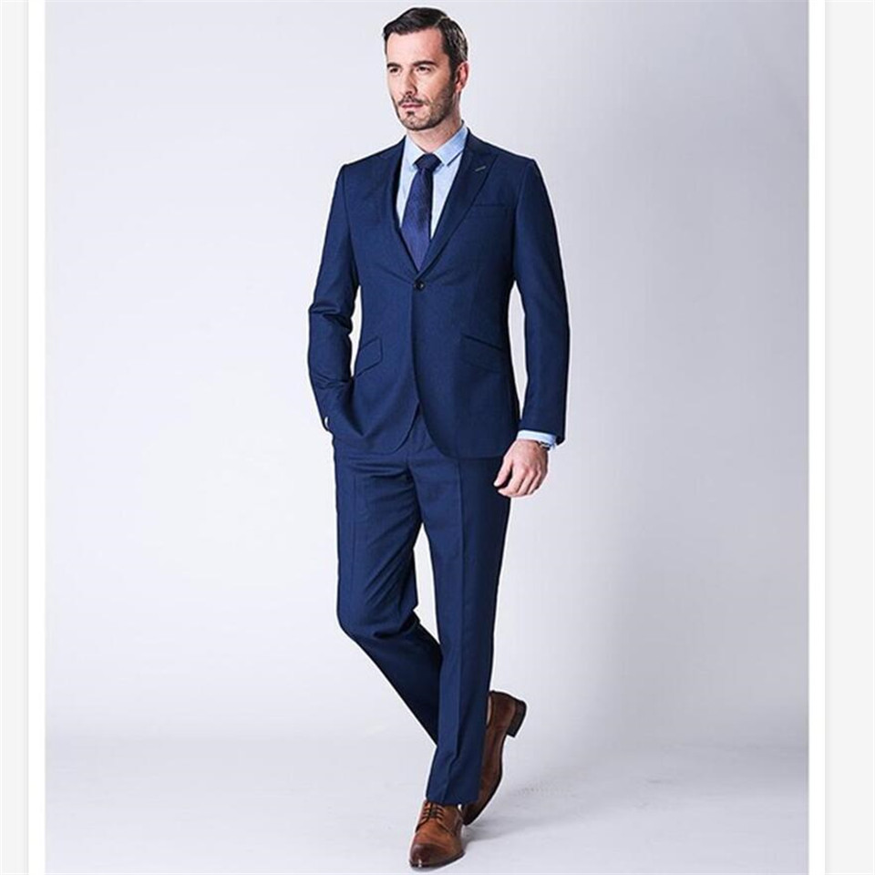 New Men's Suit Smolking Noivo Terno Slim Fit Easculino Evening Suits For Men Party Blue 2 Piece Tops+Pants
