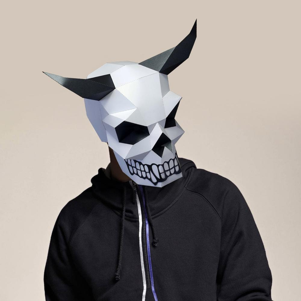 Paper Mask 3d Horned Skull Costume Cosplay DIY Paper Craft Model Mask Christmas Halloween Prom Party Gift