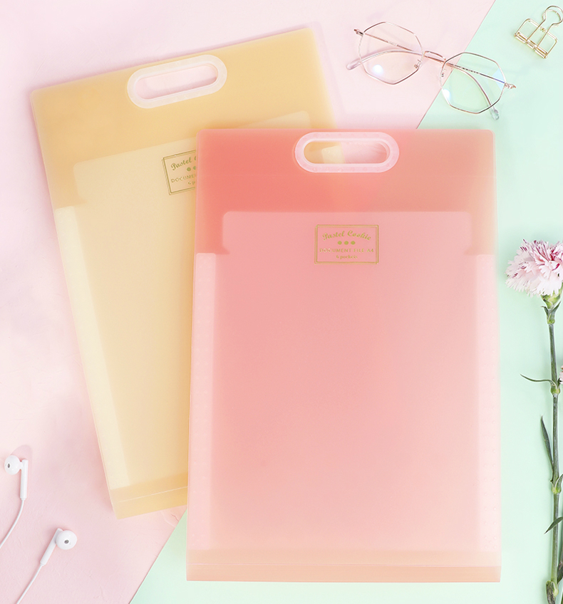 1 Pc KOKUYO High Capacity Expanding Wallet A4 WSG-DFC65 Document Bag Box File Pastel Cookie Series Portable Multilayer Design