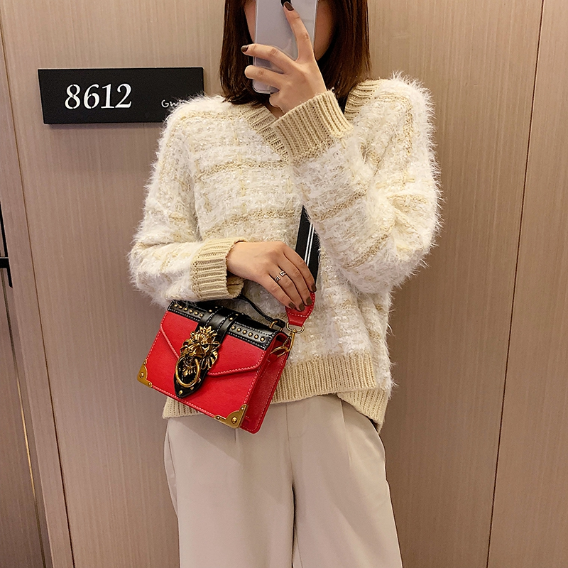 H616bd427bccc4f0c9c695311a823e966x - Female Fashion Handbags Popular Girls Crossbody Bags Totes Woman Metal Lion Head  Shoulder Purse Mini Square Messenger Bag