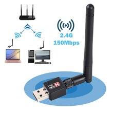 Adaptateur wi fi usb ethernet lan 802.11n sans fil, carte dongle pour ordinateur de bureau, antenne, mini récepteur wi fi 2.4 ghz