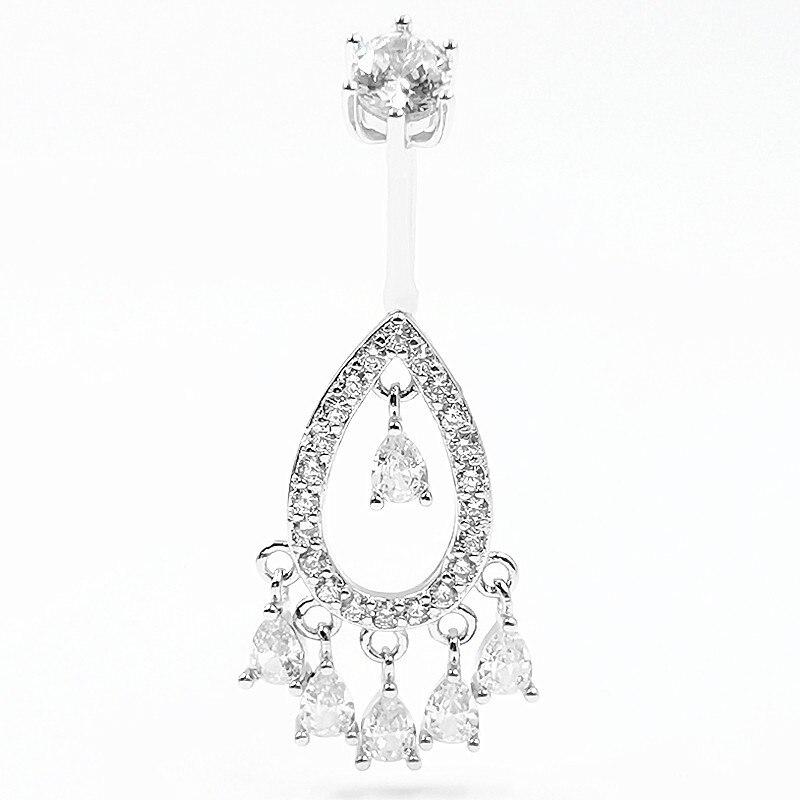 925 Sterling Silver Navel Rings 14g drop shape CZ Belly Piercing Body jewelry for women 1pcs