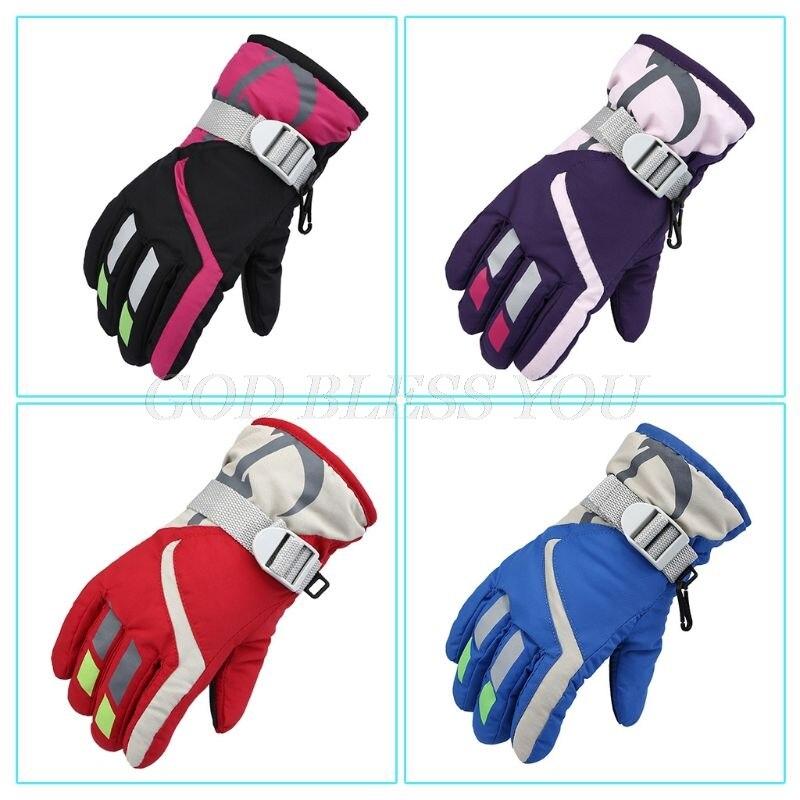 Детские зимние лыжные перчатки для мальчиков и девочек, утепленные теплые ветрозащитные противоскользящие варежки с подкладкой и пряжкой для езды на открытом воздухе