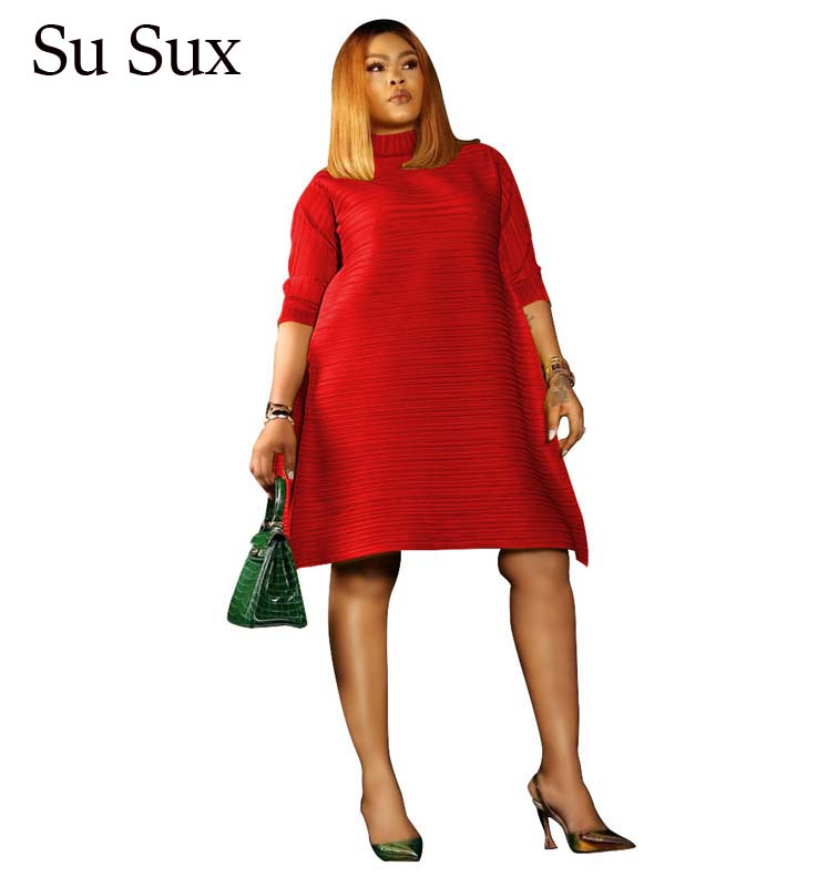 Casual Plus Size Pleated Dress Women African Clothes 2020 Spring Solid Turtleneck Three Quarter Sleeve Loose Mini Dress Partyclu
