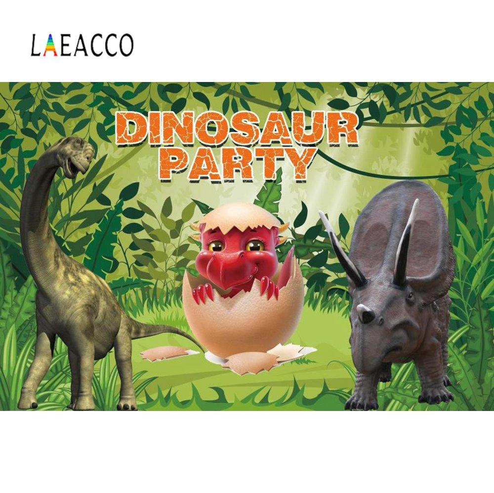 Laeacco Dinosaur Background 5x7ft Jurassic Period Dinosaur Backdrop Natural Mountain Lake Shining Close Dangerous Small Dinosaur Photograpic Studio Backdrops Props