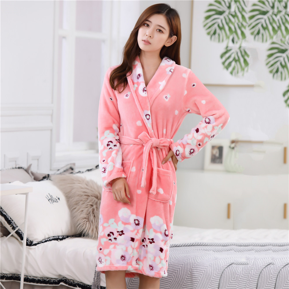 Coral Fleece Flanne Women Nightwear Autumn Winter Dress Robe Sleepwear Warm Thick Home Clothing Soft Pocket Bathrobe Gown