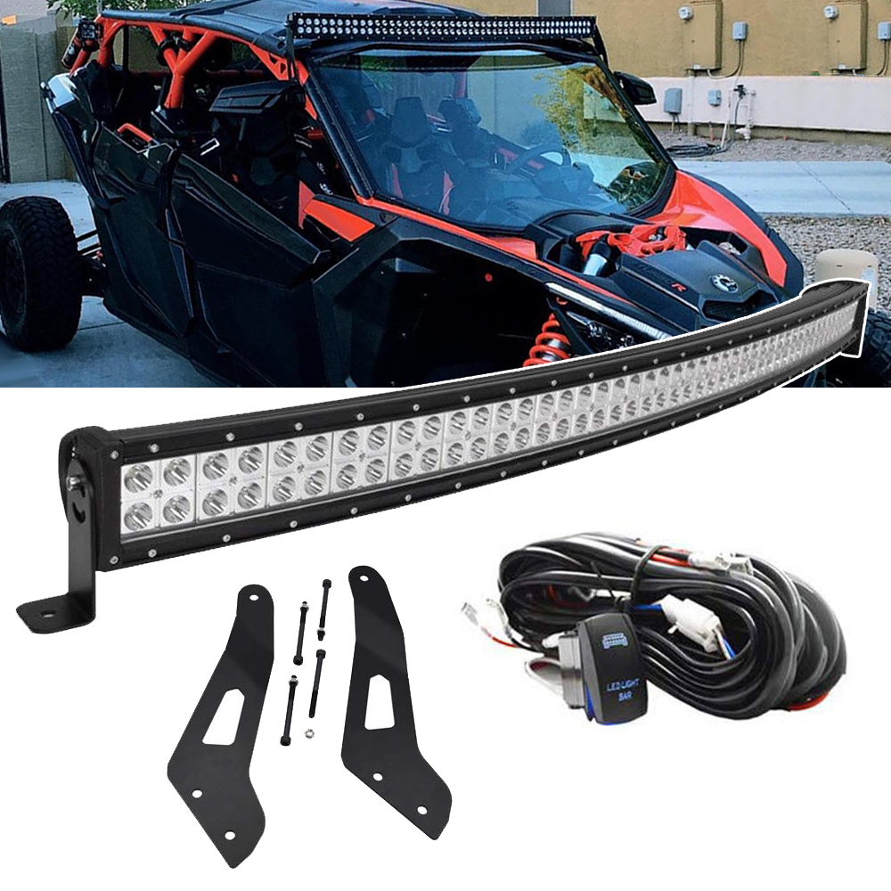 52 Inches 288W Curved LED Light Bar Spot With Upper Roof Mounting Brackets And Wiring Kit Fit 2017-2019 Can-am Maverick X3 Max